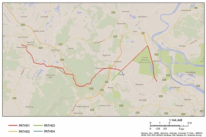 The concept design for the location of the Richmond Vale Rail Trail