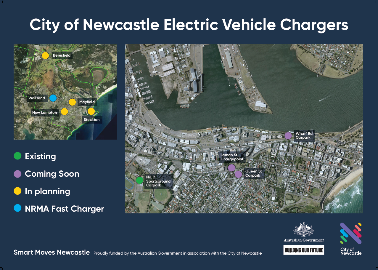 Map of EV charger locations installed and in planning